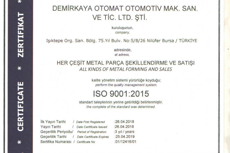 ISO 9001: 2015 Certificate Updated !